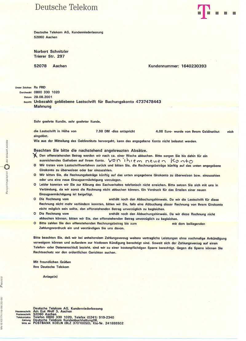 Brief An Die Telekom Nach Mahnung Wegen Falscher Bankverbindung